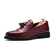 Men's Oxfords Spring Summer Fall Winter Comfort PU Casual Low Heel Tassel Black Brown Red