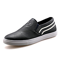 Men's Loafers & Slip-Ons Spring Summer Fall Winter Platform Comfort PU Outdoor Casual Athletic Low Heel Split Joint Black Blue Walking