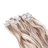 Neitsi 22'' 140g/set 7Pcs/set Curl Wavy Clip in on Synthetic Hair Extensions Highlight Hair Pieces F18/22#