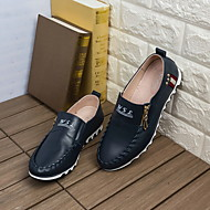 Men's Loafers & Slip-Ons Spring / Fall Comfort Leather Casual Flat Heel Zipper Blue Others