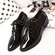 נשים-נעלי אוקספורד-דמוי עור-נוחות-שחור / בורגונדי-קז'ואל