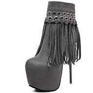 Women's Boots Spring / Summer / Fall / Winter Gladiator Fur Party & Evening / Dress / Casual Stiletto Heel Tassel Black / Gray