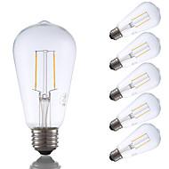 2W E26 LED filament žarulje ST19 2 COB 220 lm Toplo bijelo Može se prigušiti / Ukrasno AC 110-130 V 6 kom.