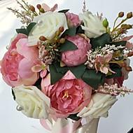 """Bouquets de Noiva Redondo Rosas / Peônias Buquês Casamento / Festa / noite Cetim / Espuma 9.84""""(Aprox.25cm)"""