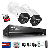 sannce® 1.0Mp 720p HD 4ch 4 in1 TVI h.264 Видеорегистратор в системе / наружной камеры безопасности видеонаблюдения встроенный 1tb НЖМД