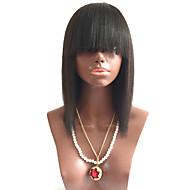 prirodnog izgleda glueless ljudske kose čipke ispred perika Brazilski djevica kosu mekom Yaki ravno šiške 130% Gustoća prirodna boja