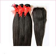 6a feldolgozatlan brazil szűz haj egyenes Bezárásra 3 köteget 4 * 4 csipke bezárása emberi haj sző Bezárásra