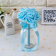 """פרחי חתונה עגול ורדים זרים חתונה / חתונה/ אירוע סאטן / קצף 3.94""""(לערך.10ס""""מ)"""