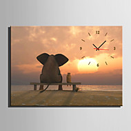 E-HOME® Elephants Watching the Sunset Clock in Canvas 1pcs