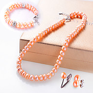 Jewelry 1 Necklace 1 Pair of Earrings 1 Bracelet Rings Pearl Wedding 1set Women Light Pink Silver Wedding Gifts