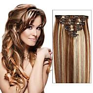 frete grátis clipe brasileira em extensões de cabelo humano em linha reta clip-em extensões do cabelo 7pcs cabeça cheia / 8pcs como