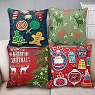 4 יח כותנה/פשתן כיסוי כרית / ציפית לכרית,חג מודרני / עכשווי / מבטא/ מעוטר