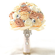 Bouquets de Noiva Redondo Rosas Buquês Casamento / Festa / noite Poliéster / Cetim / Tafetá / Renda / Elastano / Enfeite / Espuma / Strass