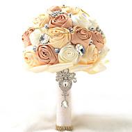 "Wedding Flowers Round Roses Bouquets Wedding Party/ Evening Polyester Satin Taffeta Lace Spandex Bead Foam Rhinestone 7.87""(Approx.20cm)"