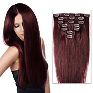 grampo de cabelo brasileira em extensões de 70 g-120 g de grampo em extensões de cabelo rectas 7/8 pcs cores de camadas múltiplas