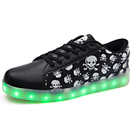 Men's Athletic Shoes Spring Summer Fall Winter Comfort Novelty Light Up Shoes PU Outdoor Casual Athletic Flat Heel Lace-up LED Black