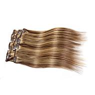 7 stuks / set clip in hair extensions piano kleur gemengde bruin blonde 14inch 18inch 100% human hair voor vrouwen