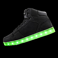 Men's Athletic Shoes Fall Winter Light Up Shoes Comfort PU Athletic Flat Heel LED Black White