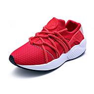 Feminino-Tênis-Conforto-Rasteiro-Preto Vermelho Cinza-Couro Ecológico-Ar-Livre Casual Para Esporte