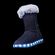 女の子 ブーツ スノーブーツ ライトアップシューズ コンフォートシューズ PUレザー 冬 カジュアル LED フラットヒール ブラック グレー ピンク キャメル フラット