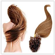 """מסמר שיער ברזילאי בתולת הארכת שיער קרטין אדם מראש מלוכדות u להטות שיער 18 """"-28"""" 1pc 100g / PC 1G / s / הרבה במלאי"""