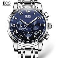 AngelaBOS Masculino Relógio Elegante Relógio de Moda Relógio de Pulso Quartzo Calendário Aço Inoxidável Banda Casual BrancoBranco Preto
