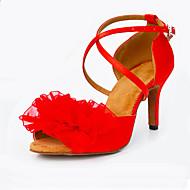Sapatos de Dança(Vermelho) -Feminino-Personalizável-Latina Moderna Salsa