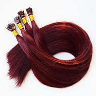 Olen kärki keratiini fuusio ihmisen hiusten pidennykset Brasilian hiukset # 350 tumman viininpunainen Brasilian hiukset 50 100 kpl / erä