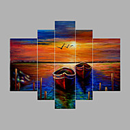 Hand-Painted Landsacpe Oil Painting Five Panel Canvas Oil Painting Per Panel Size 30x50cm*2  30x70cm*2  & 30x90cm Total Cover Wall Size 150*90CM
