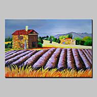 Kézzel festett Landscape Virágos / Botanikus Festmények,Klasszikus Rusztikus Egy elem Vászon Hang festett olajfestmény For lakberendezési