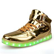 女性-カジュアル-PUレザー-フラットヒール-コンフォートシューズ 靴を点灯-スニーカー-レッド シルバー ゴールド