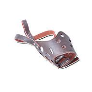 Dog Muzzle Anti Bark Solid Brown Genuine Leather
