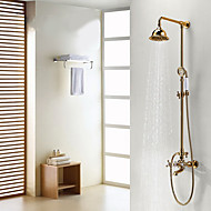 Antique Shower System Rain Shower Handshower Included with  Ceramic Valve Two Handles Three Holes for  Ti-PVD , Shower Faucet