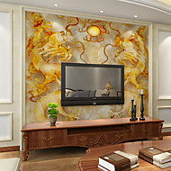 Blomster Art Deco 3D Bakgrunn For Hjem Moderne Tapetsering , Lerret Materiale selvklebende nødvendig veggmaleri , Room wallcovering