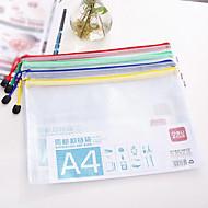 Zipper Paper Bags Transparent Plastic Mesh Bags A4 Briefcase (Random Color)