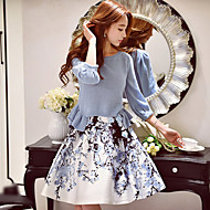 DABUWAWA Women's Flare Sleeve/Ruffle Floral / Color Block Skirts,Cute / Street chic / Sophisticated Knee-length
