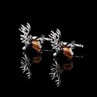 ελάφια μανικετόκουμπα κεφάλι για τους άνδρες χαλκό υλικό μανικετόκουμπα δώρα Χριστουγέννων παρούσα κοσμήματα ζώου πατέρα με το κιβώτιο