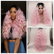 Sexy Beauty High Heat Resistant Loose Wave Kinky Curly Lace Front Wig Synthetic Ombre Pink Dark Root Tone Rock Pink Hair Lace Front Wig Cosplay Wig