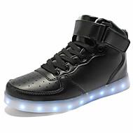 ユニセックス-アウトドア カジュアル アスレチック-PUレザー-フラットヒール-コンフォートシューズ アイデア 靴を点灯-スニーカー-ブラック レッド ホワイト