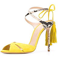 Women's Sandals Spring Summer Fall Shoes & Matching Bags Leatherette Casual Party & Evening Stiletto Heel Tassel Split JointBlack Blue