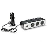 12V 24V tripla 3 utas autós szivargyújtó töltő splitter aljzat adapter elosztó, USB port autós töltés