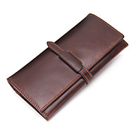 Contacts Genuine Leather Men Long Bifold Purse Accordion Wallet Casual Checkbook Wallet Cowhide