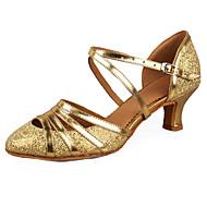 Obyčejné-Dámské-Taneční boty-Latina Slasa-Koženka Leštěná kůže Lesk-Kubánský-Stříbrná Zlatá