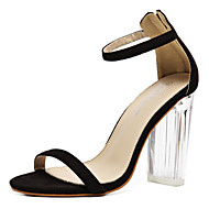 Women's Sandals Spring Summer Fall Comfort Novelty Rubber Outdoor Party & Evening Dress Chunky Heel Buckle Crystal Heel Black Almond