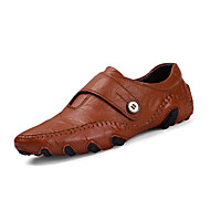 Herre-PU-Flat hæl-Komfort-Oxfords-Fritid-Svart Brun
