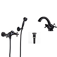 Antique Tub And Shower Widespread with  Ceramic Valve Single Handle Two Holes for  Oil-rubbed Bronze , Bathroom Sink Faucet