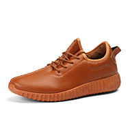 Men's Fashion Sneakers Comfort PU Leather Shoes Outdoor Athletic Casual Yeezy Flat Heel Lace-up Black / Brown / Beige Running