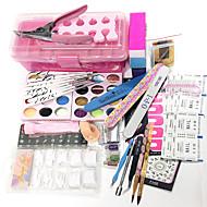 25Sets Tools 12 Color Glitter 12 Color Laser Flash Powder 12 Color Carve Patterns  Designs On Woodwork Powder 100Pcs Nail Tips Diy