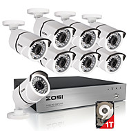 zosi® HDD 8ch HDMI 1080p DVR 1tb 8x sistemas de CCTV ao ar livre 2.0MP impermeável IR-cut bala kit de câmera de segurança