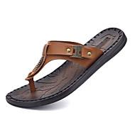 Herre-Tyll PU-Flat hæl-Tåring-Tøfler og flip-flops-Fritid-Svart Mørkebrun Bronse